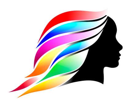 cabeza femenina: ilustraci�n de una cabeza femenina con el pelo de colores