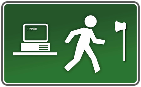 funny emergency exit sign for computer errors Stock Photo