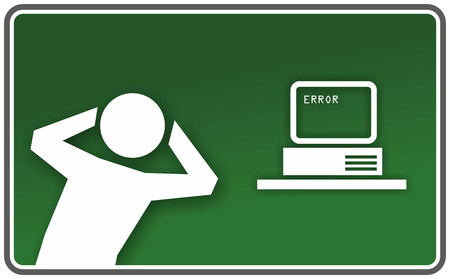 funny emergency exit sign for computer errors photo