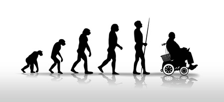 human evolution: human evolution ending with person in wheelchair