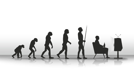 human evolution ending with sitting in front of TV