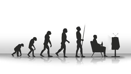 TV 앞에 앉아 끝나는 인간의 진화 스톡 콘텐츠