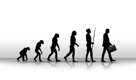 현대까지 인간의 진화 아이러니 그림 스톡 콘텐츠