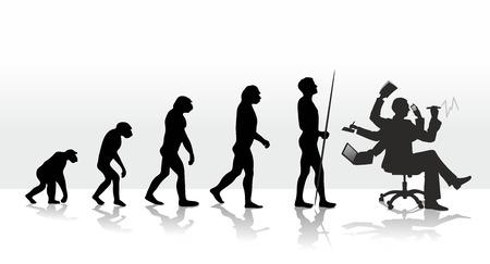evolucion: la evoluci�n humana que termina con el estr�s en el trabajo Foto de archivo