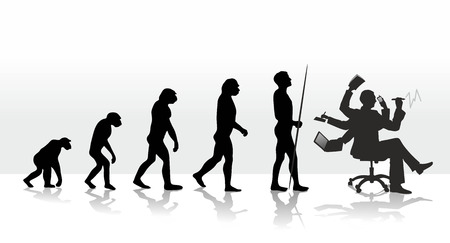 menselijke evolutie eindigend met stress op het werk