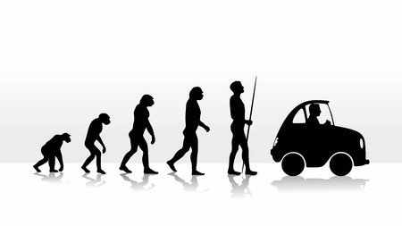 human evolution ending with driving a car