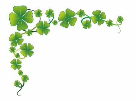illustration of a decorative border with clover leaves Stock Photo