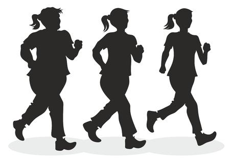 масса: Иллюстрация бегуном с различных измерений тела Иллюстрация