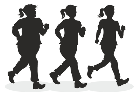 illustration of jogger with different body measurements Vector