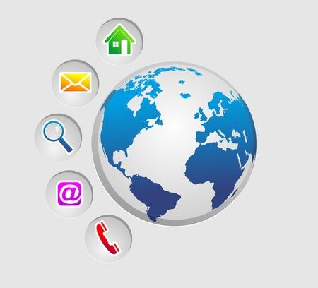 コミュニケーションの手段と web デザインのための接触のための記号