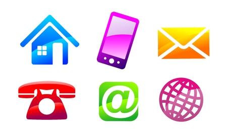 Symbolen voor communicatiemiddelen en contactgegevens voor webdesign Stockfoto - 24691718
