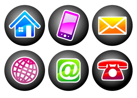 Symbolen voor communicatiemiddelen en contactgegevens voor webdesign Stockfoto - 24691719