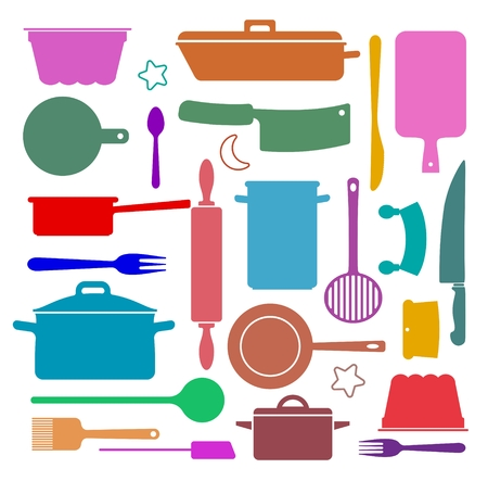 wallpaper with silhouettes of kitchen utensils