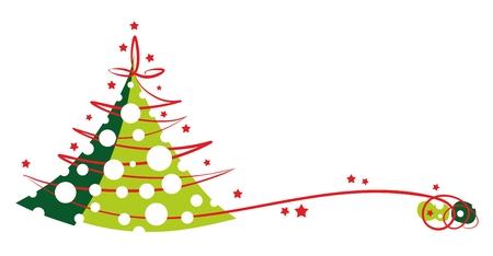 season greetings: th�me de salutations de saison avec l'arbre de No�l abstrait et flocon de neige