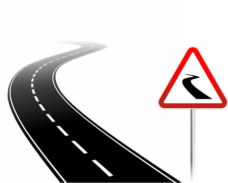 simplified illustration of a dangerous road with warning sign