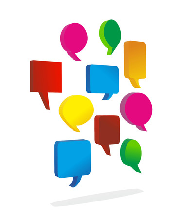 abstract illustration of speech bubbles as metaphor for multilingualism