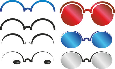 myopic: simplified illustration of different and colored glasses