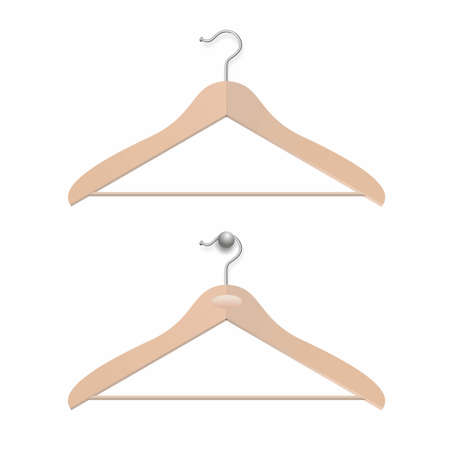 garderobe: illustration of two different simple wooden hangers