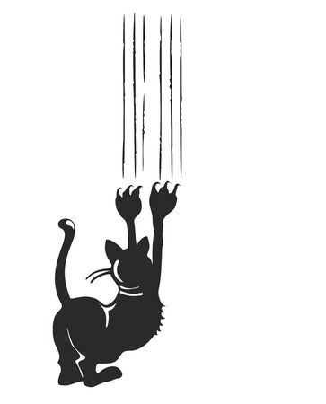 illustration of a black cat leaving claw marks on a surface Stock Photo