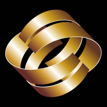 reduced value: un signo abstracto con cintas tridimensionales de oro