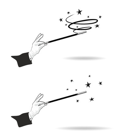 magic trick: effective magic trick with hands in gloves and twisting magic wand