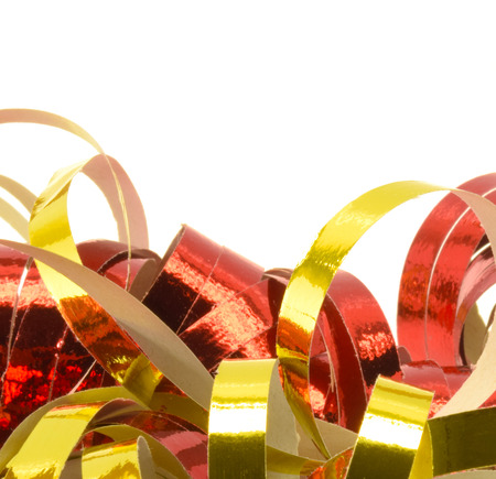 festoons: closeup of golden and red paper streamers
