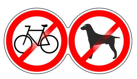 two sign templates prohibiting bicycles and dogs photo