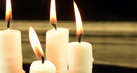 picture of burning candles on black background Stock Photo - 25080346