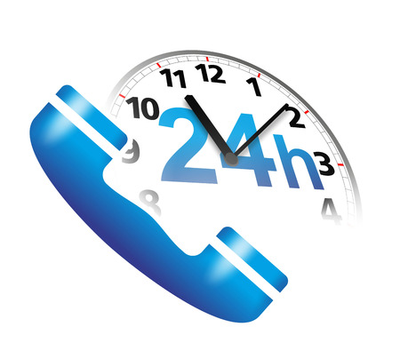 emergency call: abstract service sign with telephone and clock