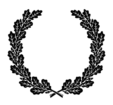 a simplified wreath made of oak leaves Çizim