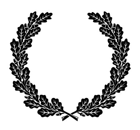 foglie di quercia: una corona semplificato fatto di foglie di quercia Vettoriali
