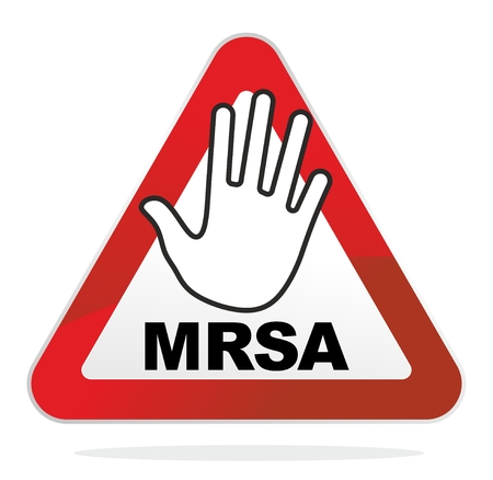 quarantine: warning sign for the contagious MRSA infection