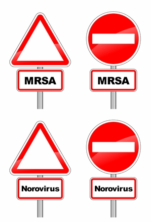 warning signs for MRSA and contagious norovirus Stock Vector - 25310286