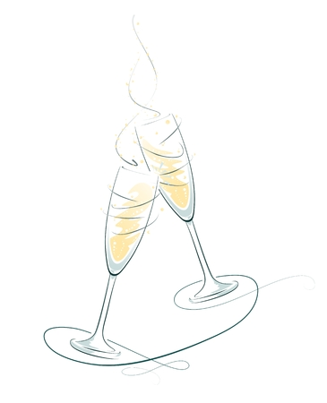 お祝い機会のためイラストのチリンとシャンパンのグラス