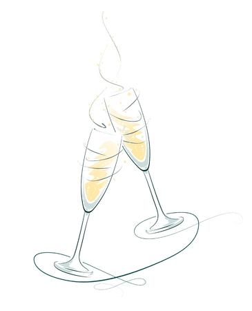 illustratie van rammelende champagne glazen voor een feestelijke gelegenheid Stock Illustratie