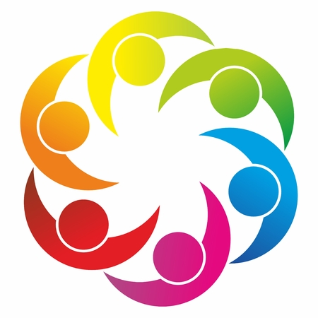 팀워크와 다양성에 대한 상징으로 추상적 인 형태로
