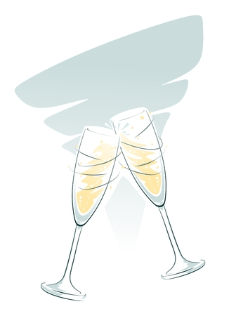 champagne glasses: illustration of clinking champagne glasses