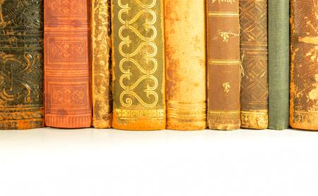 antiquarian: closeup of old books from an antiquarian bookshop