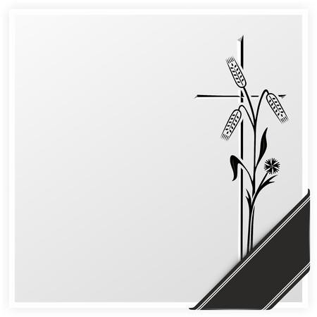 ruban noir: mod�le avec la croix, l'oreille et le ruban noir pour l'avis de d�c�s