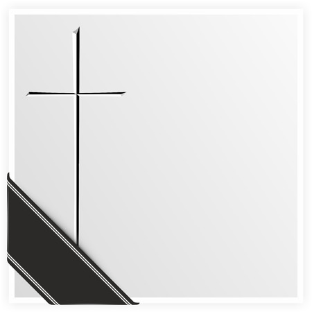 template with cross and black ribbon for obituary