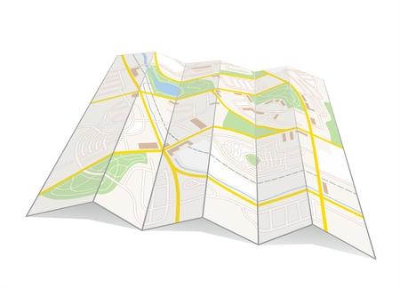 unfold: illustration of a city map of a fictive city Illustration