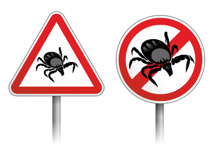 arachnids: warning of ticks and risk of meningitis Stock Photo