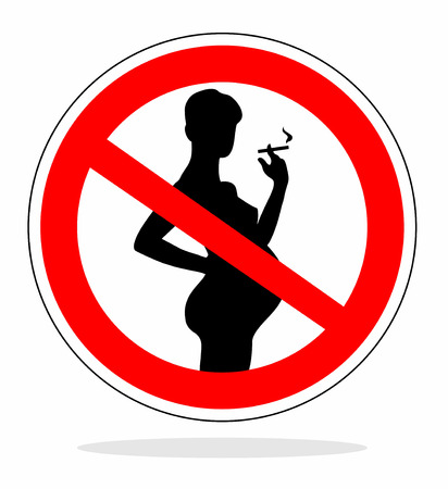 warning sign for no smoking during pregnancy photo