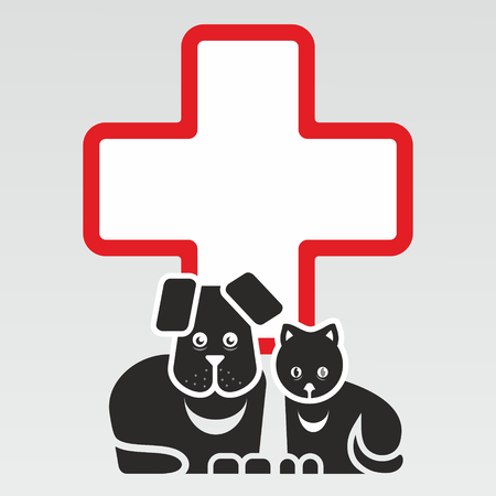 rescue dog: sign for veterinary medicine with simplified illustration of cat and dog