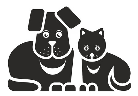 rescue dog: stylized illustration of cat and dog as pets