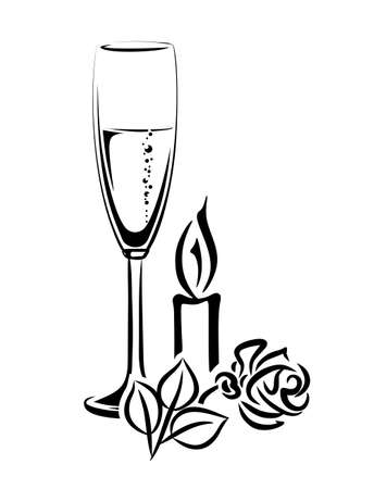clinking: illustration of champagne glass and candle with rose for a festive occasion