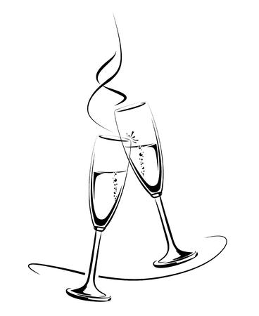 bollicine champagne: illustrazione di bicchieri tintinnano champagne per un'occasione di festa Vettoriali