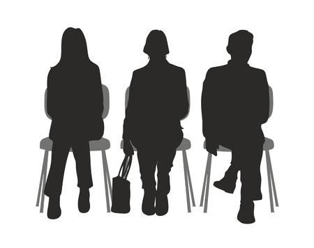 silhouet van mensen zitten in een wachtkamer