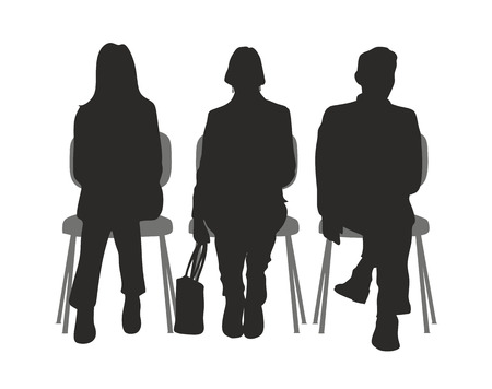 silhouette of sitting people in a waiting room Vector