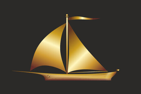 simplified: a simplified illustration of a golden sailboat Stock Photo